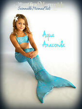 "Mermaid Tail for Swimming! With Monofin and Bikini Top! ""Aqua Anacond"""