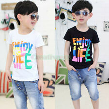 Summer Kids Toddlers Boys Girls Enjoy Life Colorful Letter 100%Cotton Tops Shirt