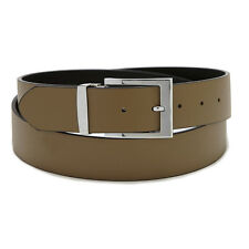 Men's Belt Reversible Extra Wide Bonded Leather Silver-Tone Buckle TAUPE/ Black