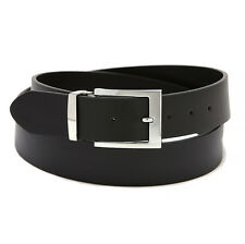 Men's Belt Reversible Extra Wide Bonded Leather Silver-Tone Buckle BLACK / Brown