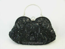 New Vintage Style Black Beaded Sequined Evening Handbag Purse & 5 Colors