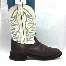 TONY LAMA SZ 10 D MENS WHITE BROWN LEATHER SQUARE TOE WESTERN COWBOY BOOTS