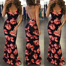 Women Deep V Backless Floral Bandage Bodycon Party Evening Long Dress Sundress