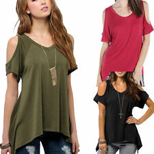 Europe Sexy Women Casual V-Neck Off Shoulder Tops Short Sleeve Stretch T-Shirt