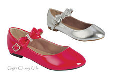 New Girls Toddler Youth Red Silver Dress Shoes Flats Mary Jane Dorothy Kids