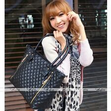 2016 Womens Office Double Zipper PU Quilted Shoulder Tote Bag Hobo Handbag