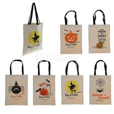 Women Kids Cotton Handbag Shopping Canvas Tote Shoulder Bags Halloween Decor