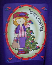 PURPLE T-SHIRT WITH RED HAT LADY & HAT FOR THE HOLIDAY FOR LADIES OF SOCIETY