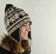 Alpaca Crochet Adult Chullo Hat With Earflaps - fairly traded - from Bolivia