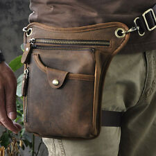 Mens Genuine Leather Motorcycle Rider Waist Hip Bum Fanny Pack Drop Leg Bag
