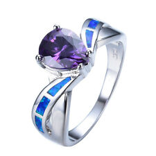 5 ct Pear Amethyst Blue Fire Opal White Gold Filled Wedding Party Ring Size 6-9