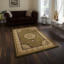 CLASSIC HERITAGE LARGE MEDALLION DESIGN CARVED RUNNER CIRCLE RUG 14mm GREEN RUGS