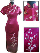 Elegant Chinese Women's Silk Long Dress Cheong-sam Party Skirt SZ S-3XL Burgundy