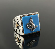 .925 Sterling Silver Turquoise Stone w/ Signature Men`s Ring -US Seller - K3M