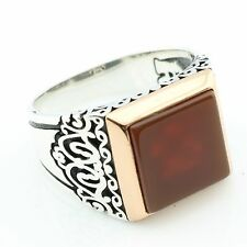 Handmade 925 Sterling Silver Square AGATE(Aqeeq) Stone Men's Ring -US Seller-K5R