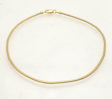1.6mm Solid Snake Chain Link Ankle Bracelet Anklet Real 14K Yellow Gold