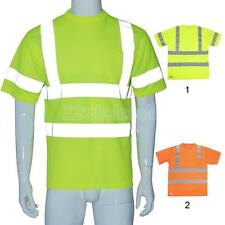 Hi Viz Vis T-Shirt High Visibility Reflective Tape Safety Security Work Top XL