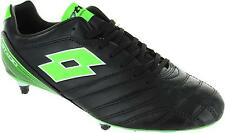 Lotto Stadio 300 Men's Black & Green Lace Up Six Stud Moulded Football Boots New