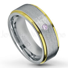 0.07ct Amethyst Ring, 2-tone Comfort Fit Tungsten Ring, February Birthstone #132
