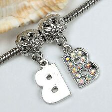 5pc Crystal Silvery Letter Character European Bead Fit Charm Bracelet Jewelry