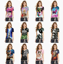 Women Polyester Casual Short Sleeve Crew Neck Loose Print T Shirt Blouse Tops