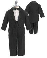 New Boys Black Ivory 5 Piece Tuxedo Suit Set with Cummerbund and Tailcoat 141F