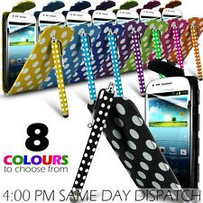 Polka Dots Leather Flip Case, Film & Stylus Pen For Samsung I8190 Galaxy S3 Mini