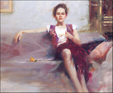 Hand-painted Impression Portrait Oil Painting on Canvas,Pino Daeni Sexy woman I
