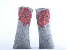 Gray mittens with ROSES rose wrist warmers, merino wool & lace fingerless gloves