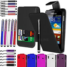 PU Leather Flip Case Cover Film & 3 Stylus Pen Set For Samsung Galaxy ACE S5830