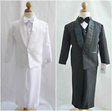 Infant toddler teen Boy black white straight satin lapel tuxedo formal suit
