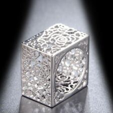 18k White Gold GP Square Hollowed-out Cocktail Ring Silver Fashion Gift R1140
