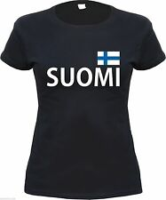 T-Shirt for girls : SUOMI with Flag Print + Black/White + S - XL + finland
