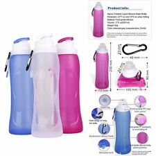 500ml Foldable Water Bottle Leak Proof Silicone Sport Outdoor Collapsible Bottle
