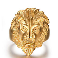 Fashion Jewelry Punk Mens Stainless Steel Lion Head Band Finger Ring US 8-12