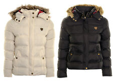 Women's Puffer Jacket Coat Ladies Faux Fur Hooded Padded Quilted Winter Jacket P