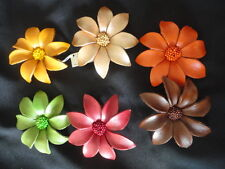 Elly Preston Leather Flower Hair / Clip/ Pin / Brooch Dahlia Variety Colors NWT