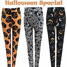 Ladies Halloween Orange Black Leggings Pants Spider Web Pumpkin Bats Skull Print