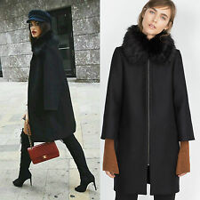 NEW ZARA WOMAN BLACK WOOL CAPE JACKET COAT WITH FURRY COLLAR SIZE L REF.8101/744