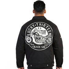 Men's Lucky 13 Black Sin Lined Jacket Motorcycle Rockabilly Hot Rod