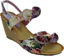 Fastest 8802-2 Womens Purple Canvas Floral Wedge Heel Ankle Platform Sandals New