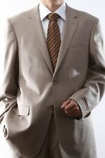 MENS 2 BUTTON SUPER 140S WOOL TAN SUIT FLAT FRONT, 40412N-TAN