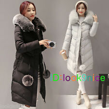 2017 new Women Down cotton Hooded fake fur collar jacket with coat Long Overcoat