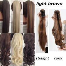 natural Clip In Ponytail Pony Tail Hair Extension Hair Piece Wavy Straight linkt