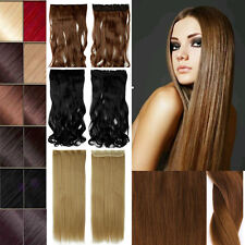 Real Thick Straight Wavy Hairpiece 3/4 Full Head 5 Clips-In Hair Extensions kt38