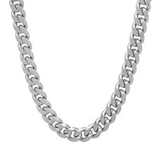 Men's 7mm Rhodium Plated Grooved Cuban Link Curb Chain & Bracelet Set