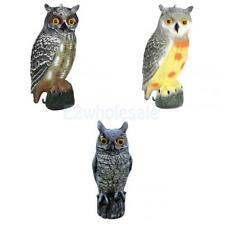 Electric Lifelike Owl Decoy Pest Control Garden Bird Scarecrow w/ Rotating Head