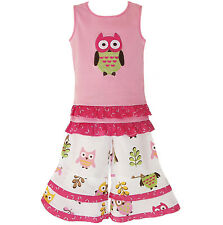 Girls Trendy Boutique Owl Capri Pants & Tank Outfit Clothes sz 12/18mo-9/10yr