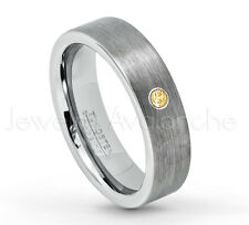 0.07ct Citrine Ring, Brushed Pipe Cut Tungsten Ring, November Birthstone #019