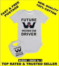 Baby Romper Suit PLUS a Baby Bib printed with FUTURE WESTERN STAR DRIVER